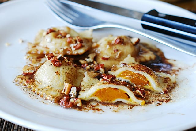 Pumpkin ravioli with brown butter sauce and pecans - Julia's Album