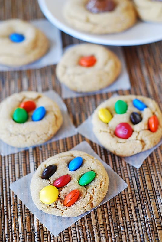 M&M peanut butter cookies, with dark chocolate