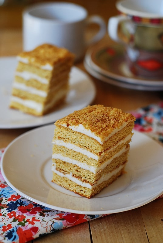 Russian Honey Cake with Cooked Flour Frosting – Medovik