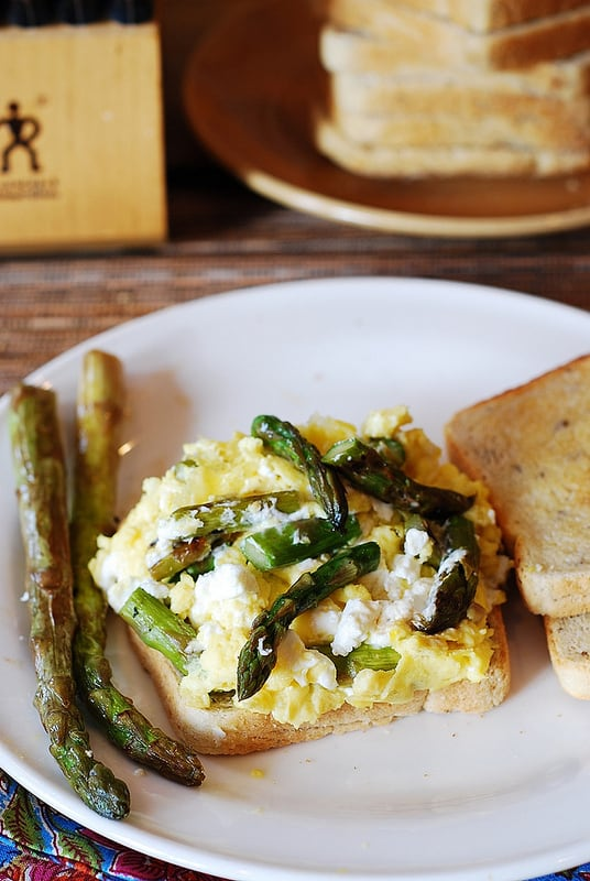 Breakfast sandwich: scrambled eggs, asparagus, and goat cheese