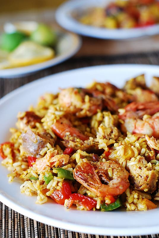 Mixed Paella with chicken, shrimp, and sausage, and bell peppers