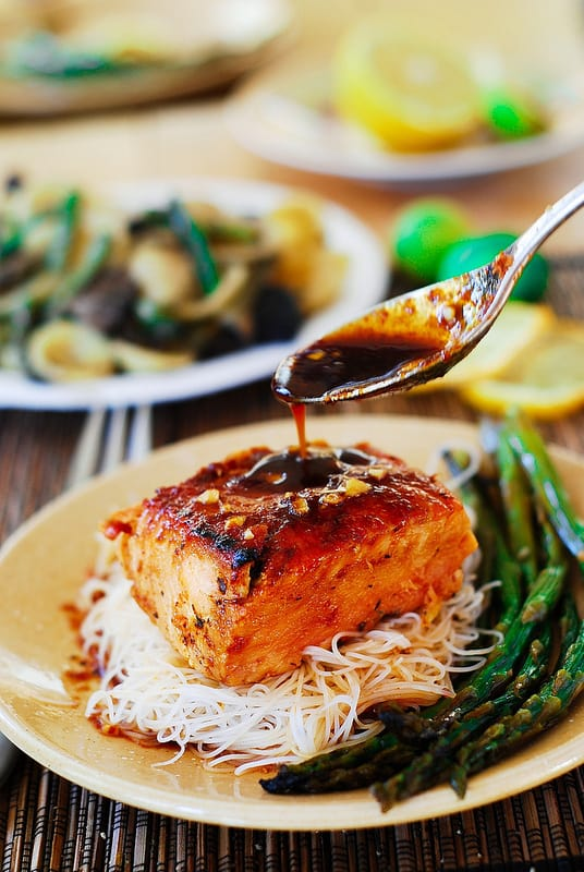 Honey Sesame Salmon with Rice Noodles and Asparagus