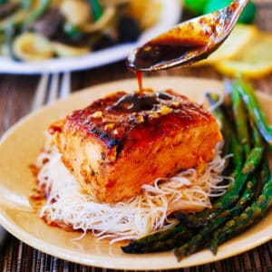 Asian Salmon with Rice Noodles and Asparagus