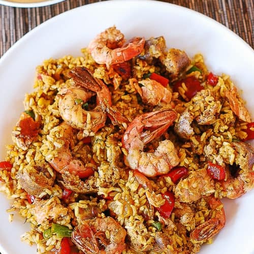paella with shrimp, chicken, sausage, vegetables