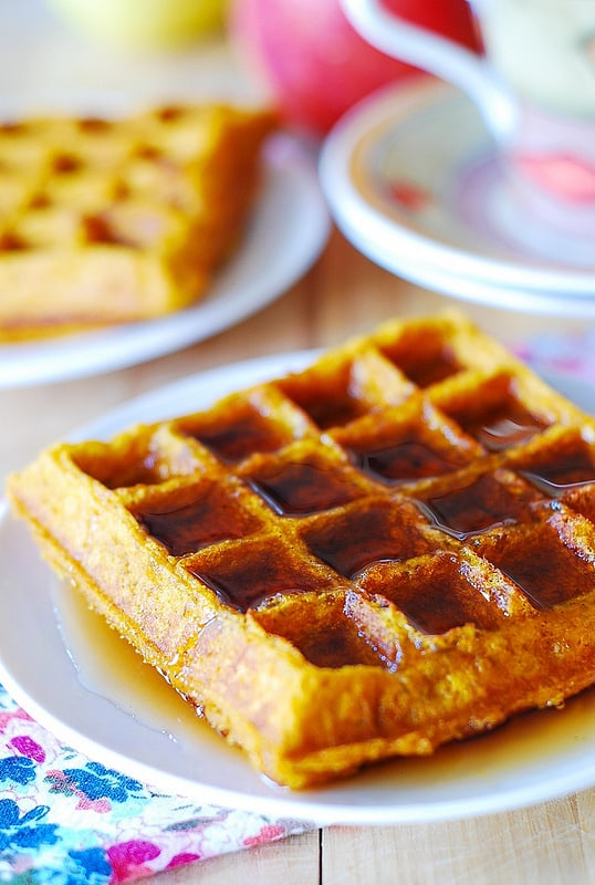 Pumpkin buttermilk waffles with maple syrup