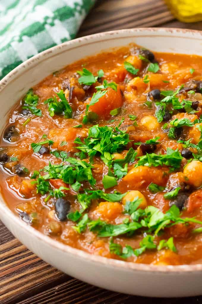 Pumpkin Chili with Black Beans and Chickpeas