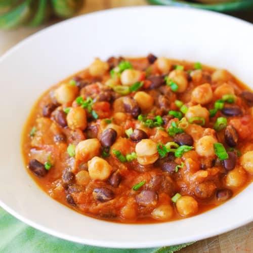 Pumpkin chili with black beans and garbanzo beans