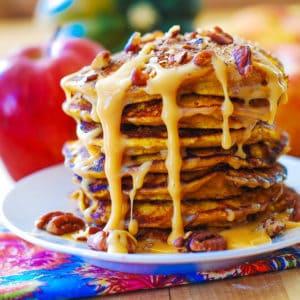 Pumpkin Pancakes with Caramel Pecan Sauce