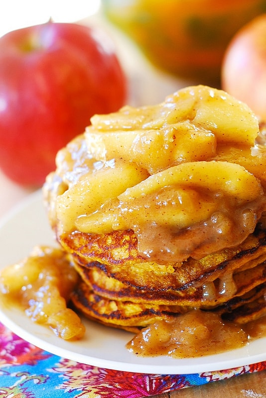 Pumpkin Pancakes with Cinnamon Apples