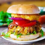 Grilled Hamburger with Caramelized Onions and Grilled Pineapple