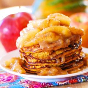 pumpkin pancakes with cinnamon apples