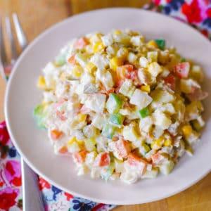 Olivier Russian potato salad with tuna