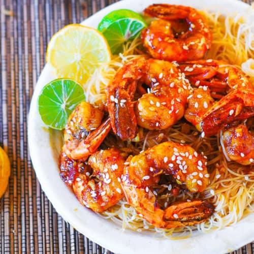 teriyaki shrimp over rice noodles