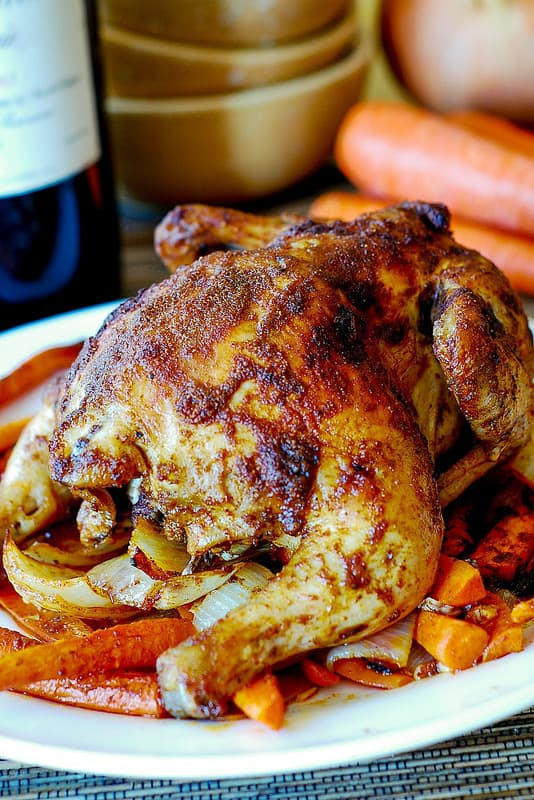 Paprika Roasted Cornish Hen with Vegetables (carrots and sweet potatoes)