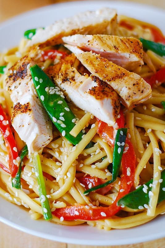 Asian chicken noodle salad with homemade ginger sesame peanut dressing