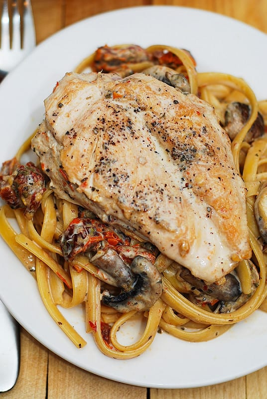 Chicken Breasts with Creamy Mushroom and Sun-Dried Tomato Pasta with Basil and Garlic