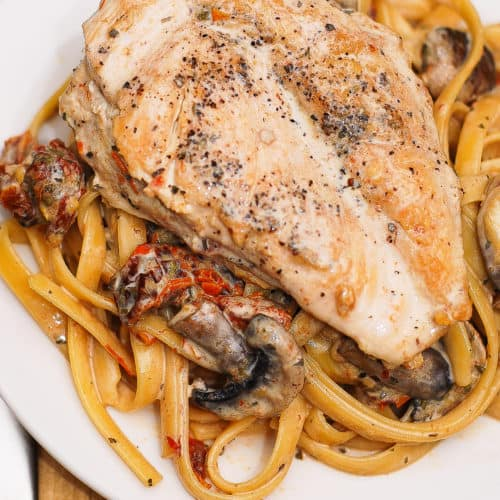 Chicken Breasts with Creamy Mushroom and Sun-Dried Tomato Pasta