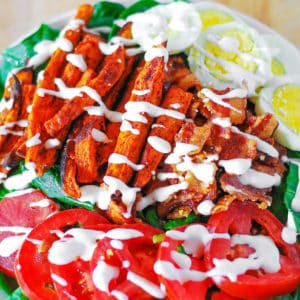 Sweet Potato Fries, Bacon, Spinach, Egg Salad