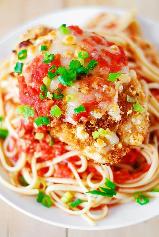 Chicken parmesan pasta in a garlic tomato sauce