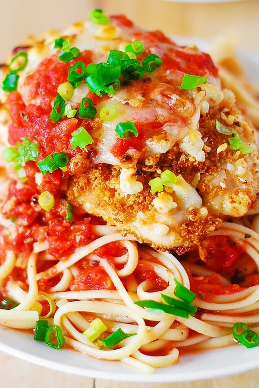 Chicken Parmesan Pasta with Garlic Tomato Basil Sauce