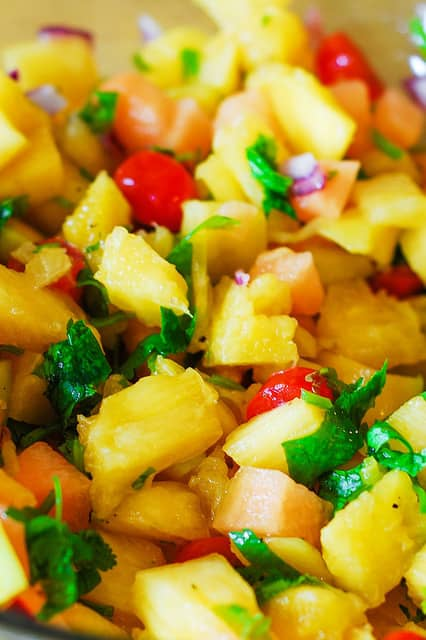 Pineapple mango salsa, tropical fruit salsa, pineapple and mango salsa, recipe for mango salsa