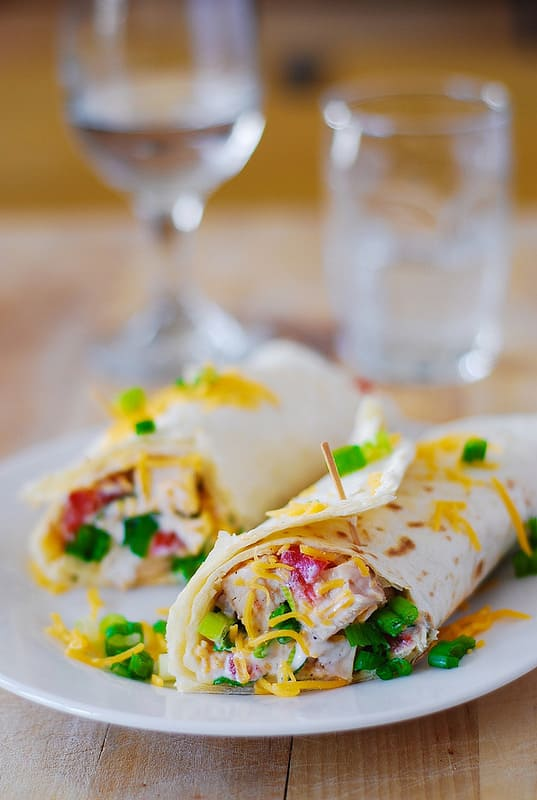 Mexican chicken wraps with Ranch dressing