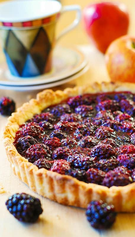 fresh blackberry tart with lots of fresh berries