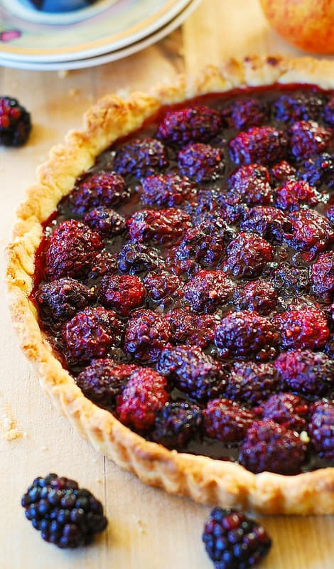 Blackberry tart on a table
