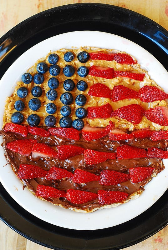 4th of July crepes - festive red, white and blue dessert made with blueberries, strawberries, and bananas