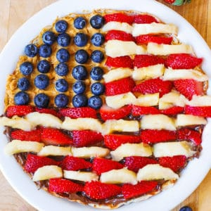 4th of july crepes with blueberries, strawberries, bananas, peanut butter, Nutella