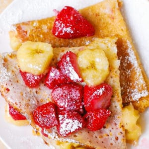 Peanut Butter Crepes Stuffed with Strawberries and Bananas