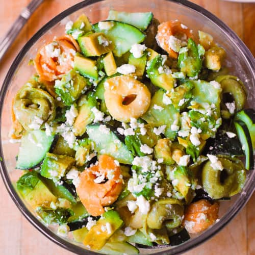 greek tortellini salad with cucumbers, avocados, and Feta cheese