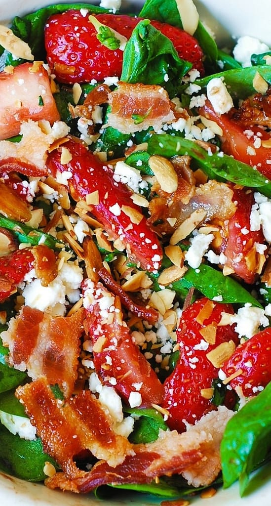 Strawberry spinach salad with bacon and feta cheese