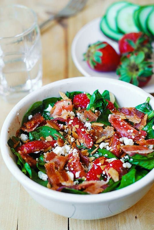 Strawberry spinach salad, salad with bacon, spinach bacon salad, feta salad, almond salad, balsamic vinegar dressing, Balsamic Vinaigrette
