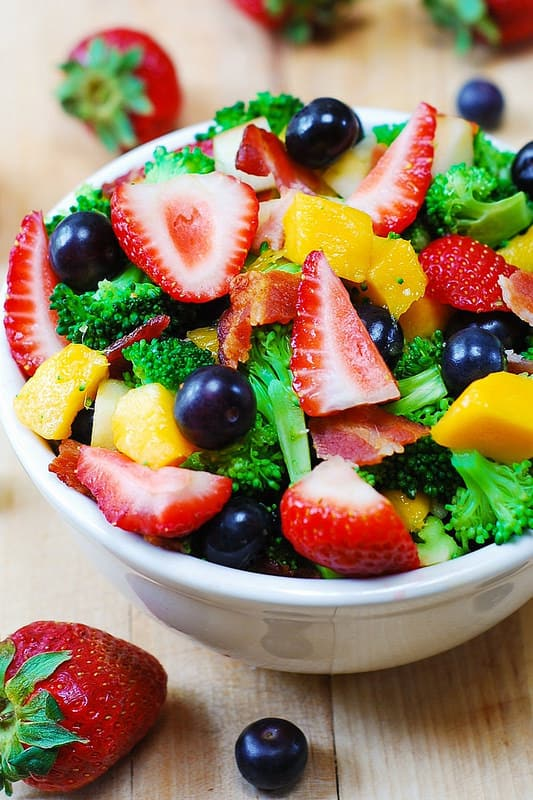 Broccoli Salad with Strawberries, Blueberries, Mango, Apple and Bacon