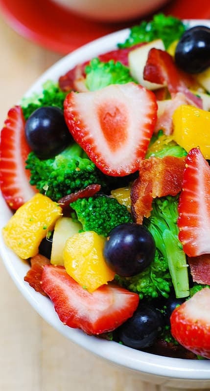 broccoli salad with bacon, blueberries, strawberries, mango, fruit salad, healthy salad, healthy recipes