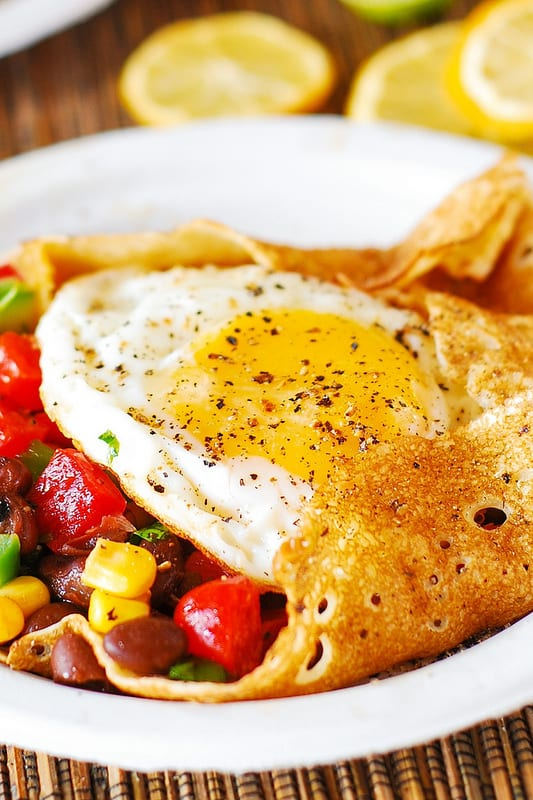 breakfast crepes stuffed with Southwestern salsa and eggs