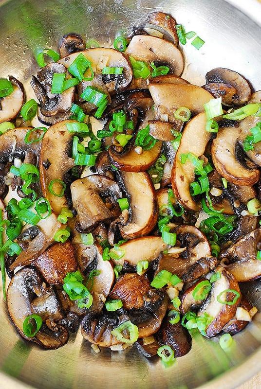 Mushroom Saute with chopped green onions