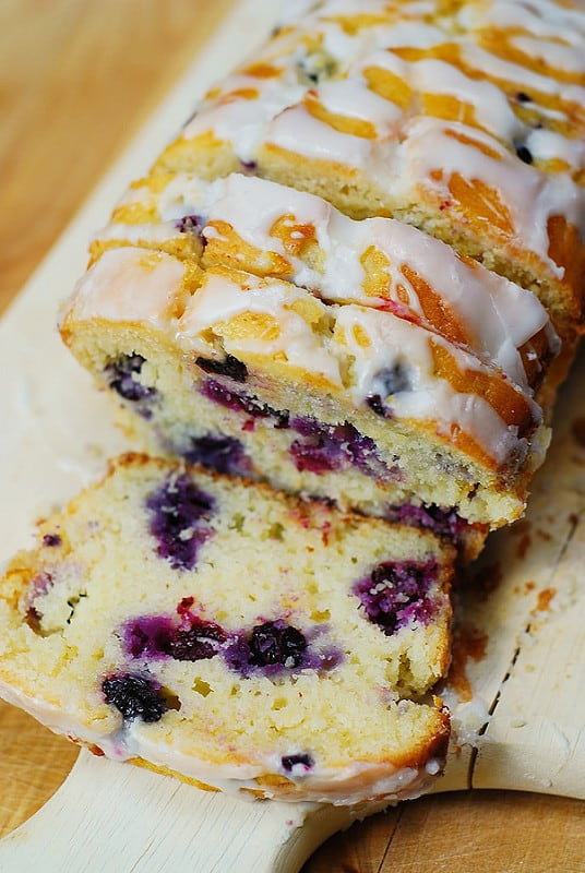 sliced blueberry lemon bread