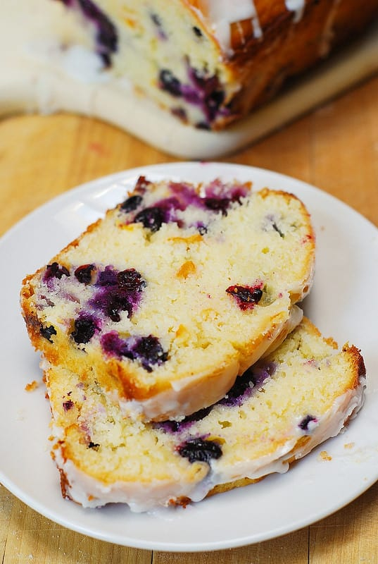 blueberry lemon bread slices on a plate