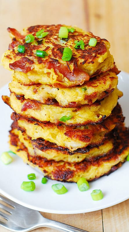 bacon recipes, spahgetti squash recipes, how to cook spaghetti squash, gluten free fritters