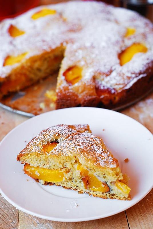 gluten free peach cake, gluten free peach cake bars, xanthan gum free recipes