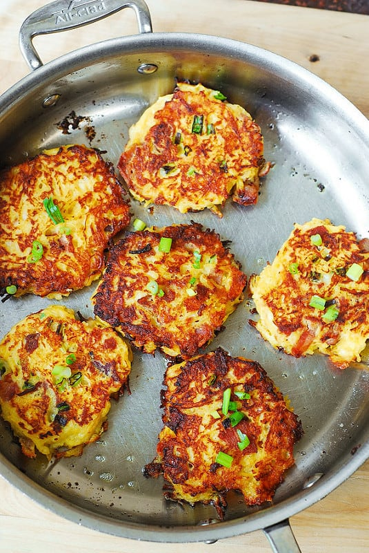 spaghetti squash cakes, parmesan fritters, bacon fritters