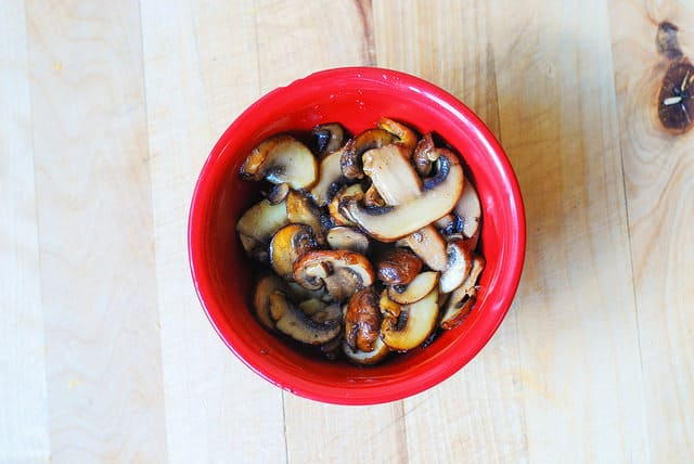 mushrooms in a red bowl