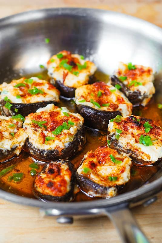 Bacon and Cheese Stuffed Mushrooms in a skillet