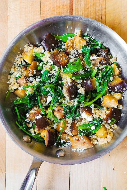 Roasted Eggplant, Spinach, Quinoa, and Feta Salad