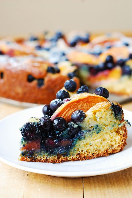 peach greek yogurt cake, peach desserts, blueberry desserts, peach cake, blueberry cake