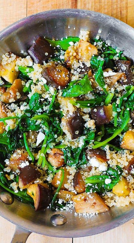gluten free dinner recipe, gluten free side dish, gluten free ideas, salad, quinoa salad, eggplant salad