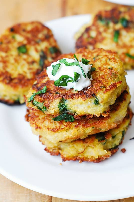 Spaghetti Squash, Quinoa and Parmesan Fritters with Greek yogurt
