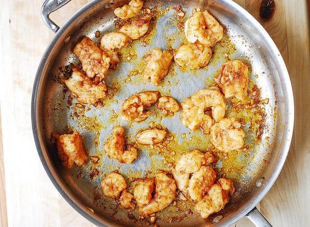 cooking shrimp in garlic butter sauce, garlic butter pasta, garlic shrimp pasta